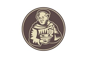 Friar Monk Cook Mixing Bowl Wood