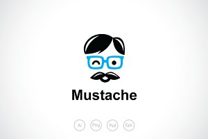 Mustache Geek Boy Logo Template