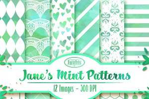 Watercolor Mint Patterns
