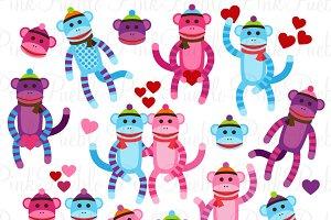 Valentine Sock Monkey Clipart/Vector