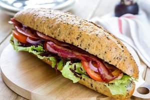 Bacon on wholemeal baguette