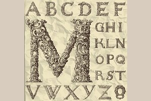Ornamental letter alphabet