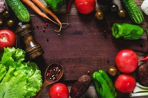 Fresh food ingredients, food frame