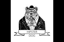 bulldog hipster vector