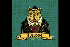 Hand Drawn Vector Portrait bulldog