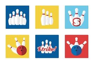 Bowling flat colorful icons set