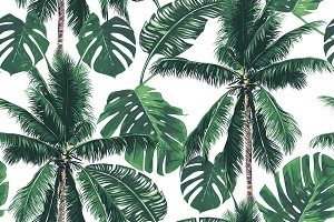 Tropical palm leaves,trees pattern