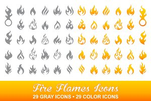 Big Vector Flame Icons Collection