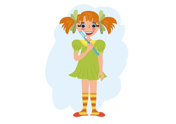 Cartoon girl brushing her tooth in Illustrations