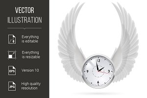 White clock. White wings.