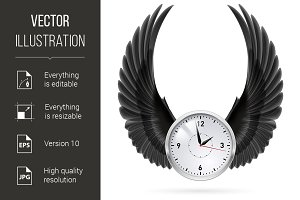 Black wings. Clock.
