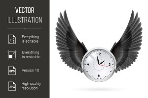 Clock and black wings.