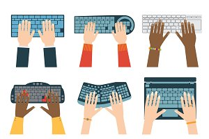 Keyboard hands vector set