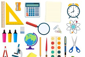 School and education workplace items