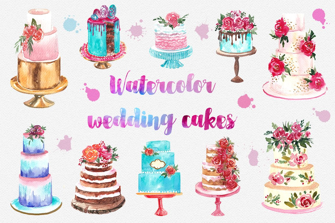Watercolor Cake Clip Art : Watercolor wedding cake ~ Illustrations ~ Creative Market