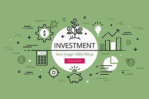 Investment flat line hero banner