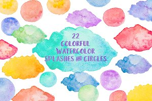 22 Watercolor Splashes Background