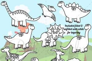 Dinosaur Line Art or Digital Stamps