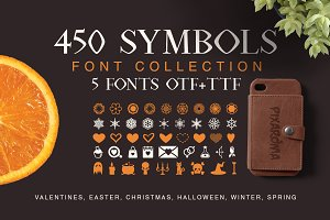 Symbols Font Collection - 450 Shapes
