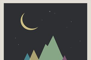 Multi-colored mountains and the moon