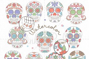 Watercolor Day of the Dead Skulls
