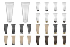 Cream tube. Vector set.