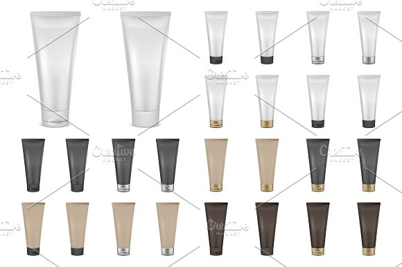 Cream tube. Vector set. - Objects