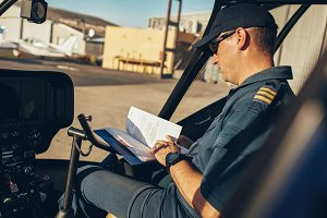 Helicopter pilot reading