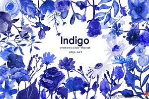 Indigo floral clipart