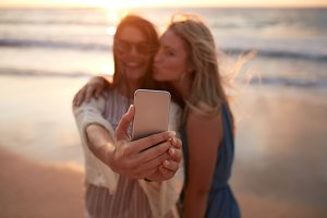 Woman friends taking selfie