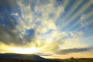Sunset on blue sky