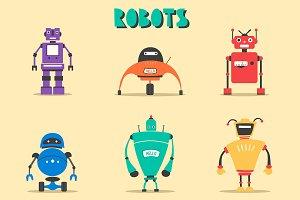 Set of robots. Vintage style