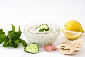 Tzatziki and ingredients