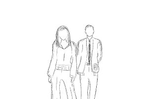 business people, sketch style