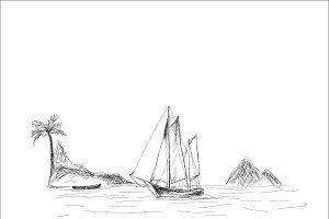 boat and sea, sketch style, vector
