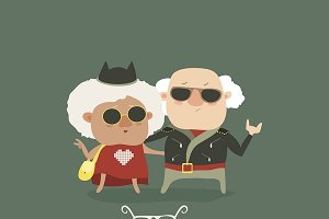 Cool grandpa and grandma