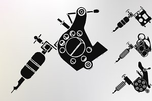 Grunge tattoo machine prints. Vector