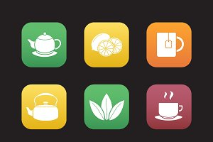 Tea. 9 icons. Vector