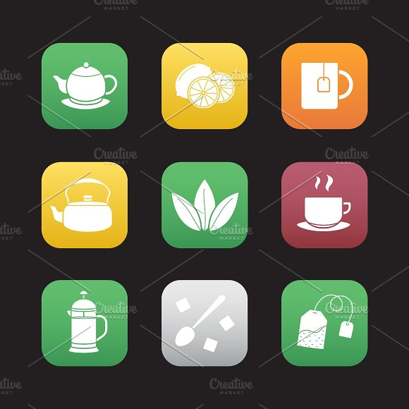 Tea. 9 icons. Vector - Icons