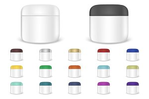 Cream jar. Vector set.