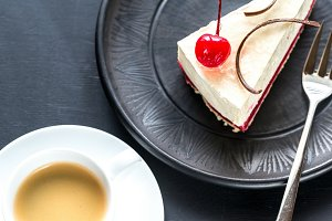 Cheesecake with cup of coffee