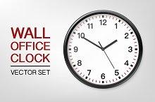 Wall office clock. Vector set.