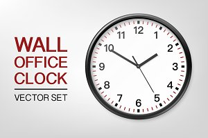 Wall office clock. Vector set.