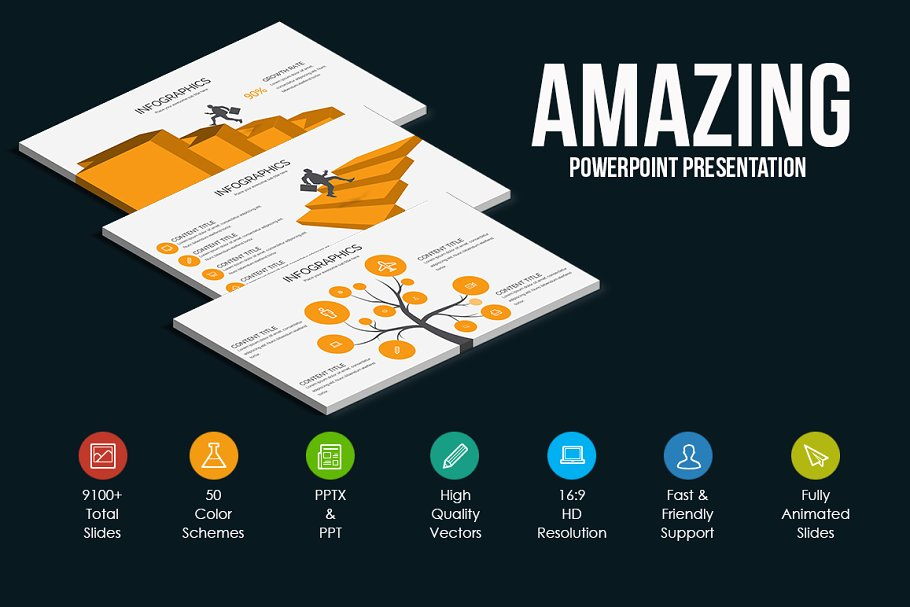 Annual Stats Powerpoint Template ~ Presentation Templates ~ Creative
