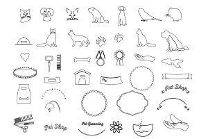 Pets line icons vector set