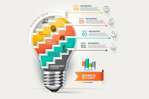 Light Bulb Staircase Infographic