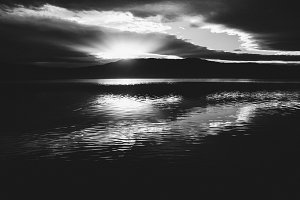 sunset in black and white