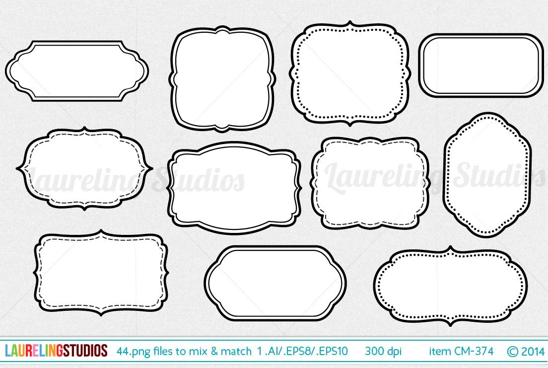 44 piece vector digital frame set ~ Objects ~ Creative Market