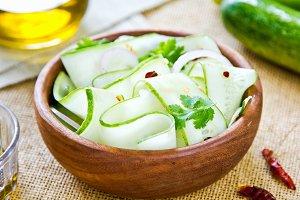 Cucumber with coriander salad