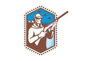 Hunter With Shotgun Rifle Duck